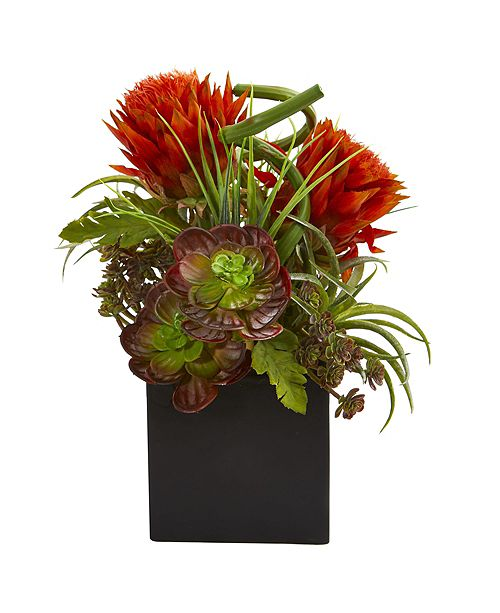 Nearly Natural Tropical Flower and Succulent Artificial Arrangement in Black Vase