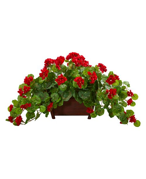 Nearly Natural Geranium Artificial Plant in Decorative Planter