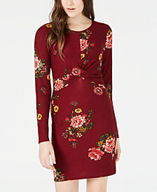 Planet Gold Juniors' Floral-Print Twist Bodycon Dress