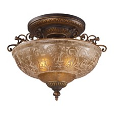 Restoration 3-Light Semi-Flush in Ant Golden Bronze