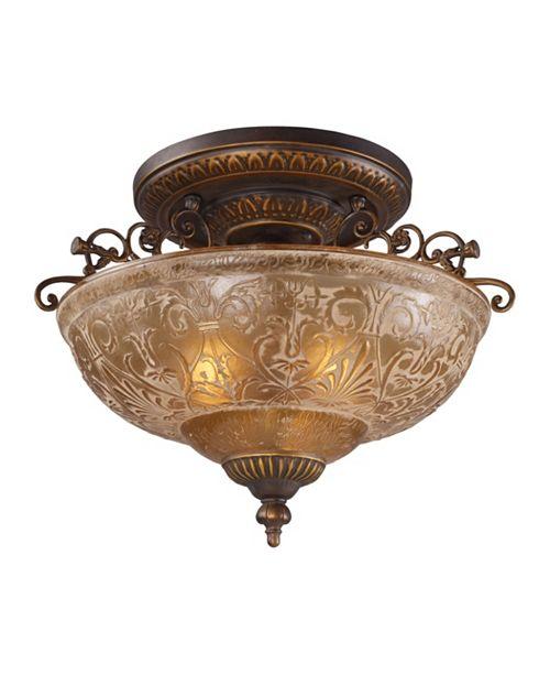 ELK Lighting Restoration 3-Light Semi-Flush in Ant Golden Bronze