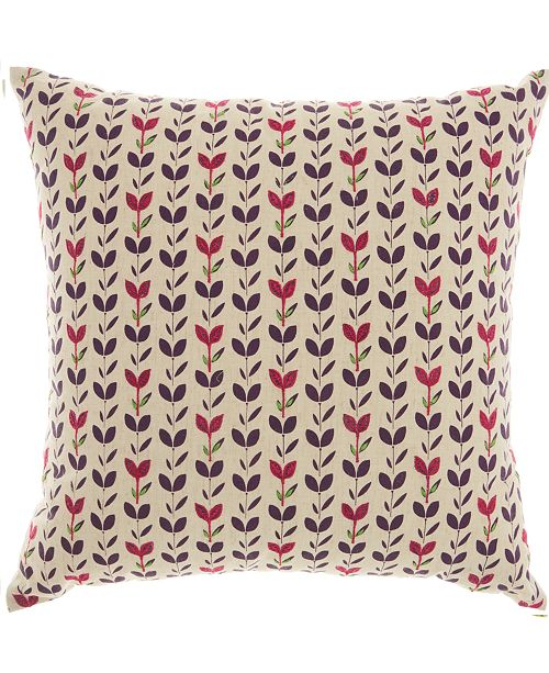 Nourison Mina Victory Trendy, Hip and New Age Embroidered Leaves Decorative Pillow
