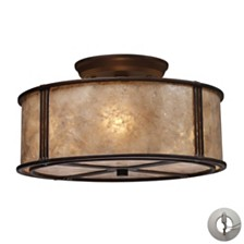 Barringer 3-LIght Semi-Flush in Aged Bronze and Tan Mica Shade