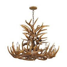 9 Light Chandelier in Wood Brown