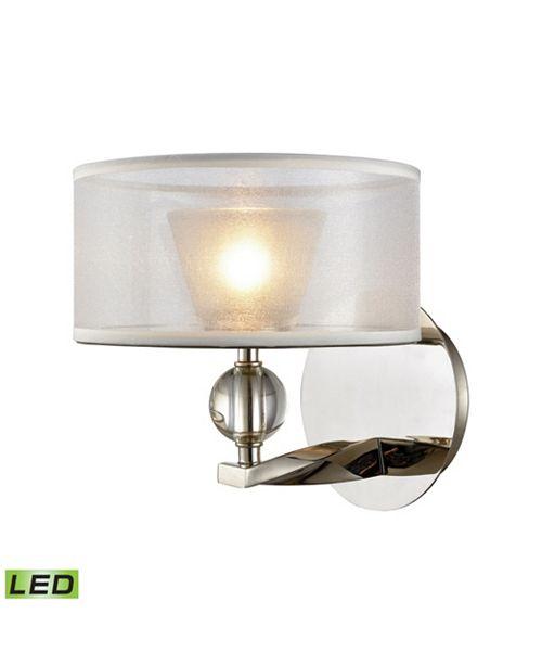 ELK Lighting Corisande 1 Light Vanity in Polished Nickel with Silver Organza Shade