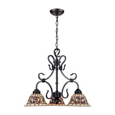 D Tiffany Buckingham 3 Light Chandelier in Vintage Antique