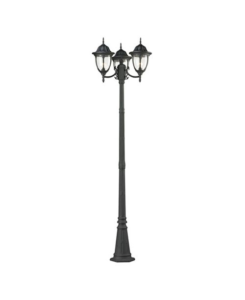 ELK Lighting Central Square Collection 3 light outdoor post light in Textured Matte Black