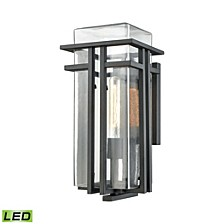 Croftwell 1 Light Outdoor Wall Sconce in Textured Matte Black with Clear Glass