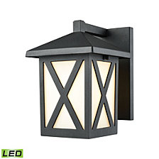Lawton 1 Light Outdoor Wall Sconce in Matte Black with White Glass
