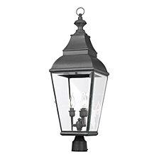 Artistic Ltg-Post Lantern, Charcoal, Beveled Glass