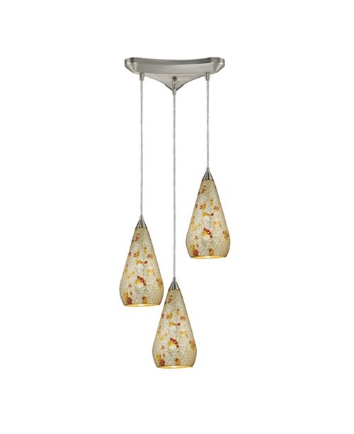 ELK Lighting Curvalo 3-Light Pendant Crackled Silver Multi in Satin Nickel