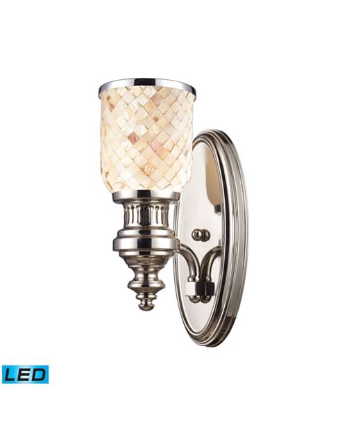 ELK Lighting Chadwick 1-Light Sconce in Polished Nickel and Cappa Shell - LED Offering Up To 800 Lumens (60 Watt Equivalent)