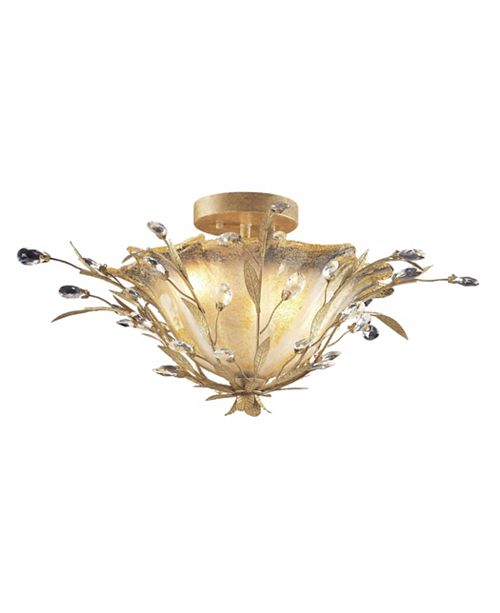 ELK Lighting Circeo Vetro Collection 2-Light Flush Mount with A Caramel Hand Formed Glass in A Russ