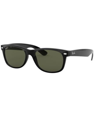 Ray-Ban RB2132 New Wayfarer Sunglasses, Tortoise/Polarized Green, 55 mm