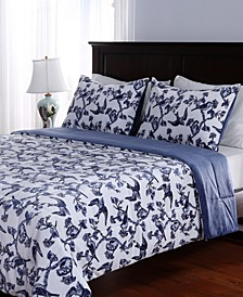 Blanket® Blue & White Plush Full/Queen Comforter Set