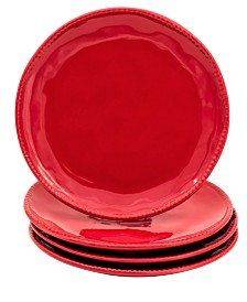 Euro Ceramica Algarve 4 Piece Red Salad Plate Set
