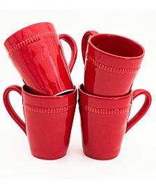EuroCeramica Algarve 4 Piece Red Mug Set