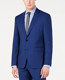 Hugo Boss Men's Modern-Fit High Blue Textured Suit Jacket