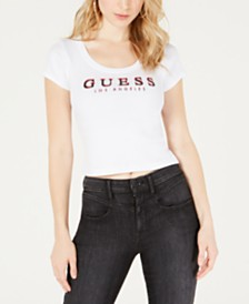 GUESS Originals Scoop-Neck Cropped T-Shirt