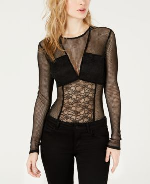 GUESS Cyon Illusion Lace-Contrast Bodysuit in Jet Black