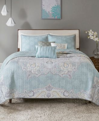 Madison Park Lucinda 6-Pc. King/California King Reversible Cotton Sateen Coverlet Set