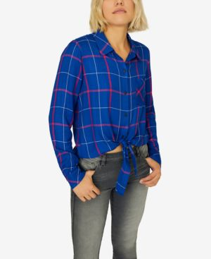 Haley Plaid Tie-Front Shirt in Electric Blue