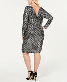 MICHAEL Michael Kors Plus Size Metallic Scalloped-Print Cowl-Neck Dress