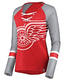 Women's Detroit Red Wings Lace Up Long Sleeve T-Shirt