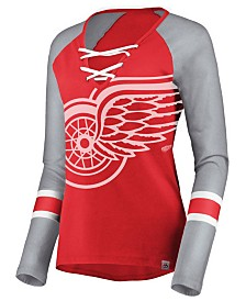 Majestic Women's Detroit Red Wings Lace Up Long Sleeve T-Shirt