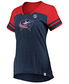 Majestic Women's Columbus Blue Jackets Hyper V Neck T-Shirt