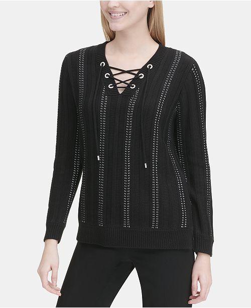 c77196bce2 Calvin Klein Striped Lace-Up Sweater - Sweaters - Women - Macy s