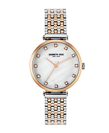 Kenneth Cole New York Ladies TwoTone Rosegold Tone Bracelet Watch 33mm