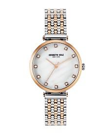 Kenneth Cole New York Ladies TwoTone Rosegold Tone Bracelet Watch 33mm