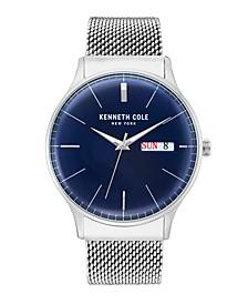Men's Silver Mesh Bracelet Watch 43mm