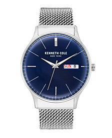 Kenneth Cole New York Men's Silver Mesh Bracelet Watch 43mm