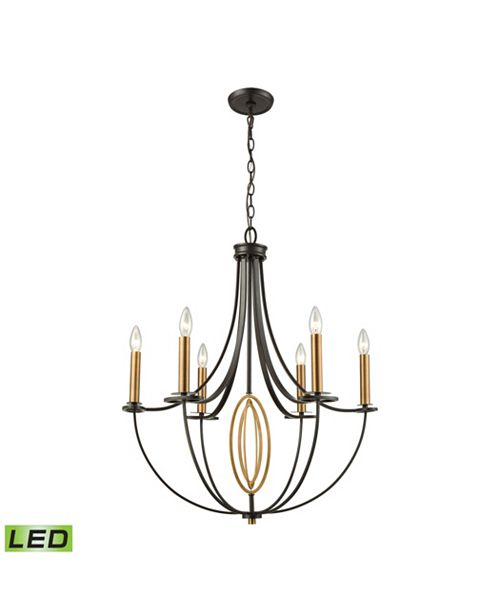 ELK Lighting Dione 6 Light Chandelier in Oil Rubbed Bronze with Brushed Antique Brass Accents