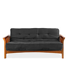 "Simmons Boston Vintage Oak Futon Frame with 6"" Beauty Sleep Innerspring Futon Mattress"
