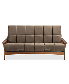 "Simmons Seattle Vintage Oak Futon Frame With 8"" Beautyrest Pannel Quilted Pocketed Coil Innerspring Futon Mattress"