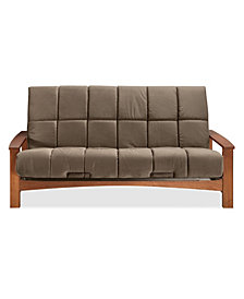 "Simmons Vancouver Vintage Oak Futon Frame With 8"" Beautyrest Pannel Quilted Pocketed Coil Innerspring Futon Mattress"