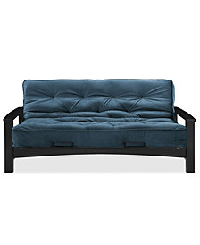 """Simmons Vancouver Wenge Futon Frame With 8"""" Beautyrest Visco Pocketed Coil Innerspring Futon Mattress"""