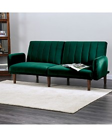 Reavis Green Vertically Tufted Flannelette Futon Sofa