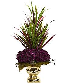 Nearly Natural Grass & Hydrangea Artificial Arrangement in Gold-Tone Urn