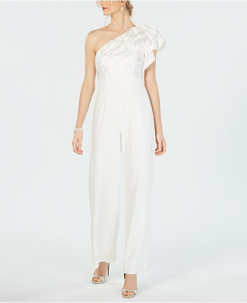 Adrianna Papell Ruffle-Detail One-Shoulder Jumpsuit