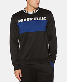 Perry Ellis Men's Regular-Fit Moisture-Wicking Colorblocked Logo Sweatshirt