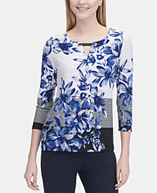 Calvin Klein Mixed-Print 3/4-Sleeve Top