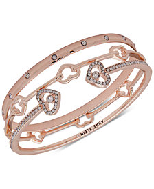 Anne Klein Rose Gold-Tone 3-Pc. Set Crystal Heart Bangle Bracelets, Created for Macy's