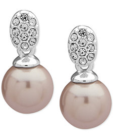 Anne Klein Silver-Tone Pavé & Imitation Pearl Drop Earrings