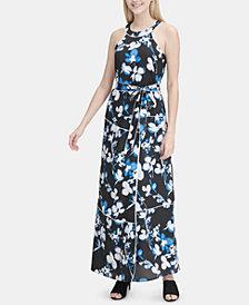 Calvin Klein Printed Halter Maxi Dress