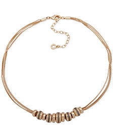 "Anne Klein Gold-Tone Rondelle Bead Multi-Chain Collar Necklace, 16"" + 3"" extender"