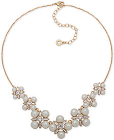 "Anne Klein Gold-Tone Crystal & Imitation Pearl Cluster Collar Necklace, 16"" + 3"" extender"